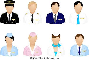 avión, tripulación, iconos