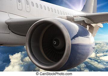 avión, turbina, motor