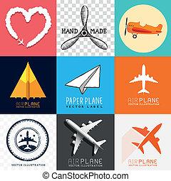 avión, vector, colección