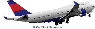 avión., vector, coloreado, pasajero