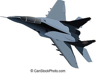 avión, vector, combate