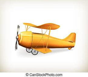 avión, vector, icono