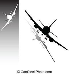 avión, vector, ilustración, en, un, blanco, y, negro