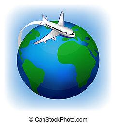 avión, viaje, vector, icono