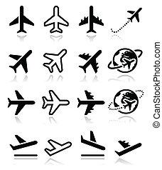 avión, vuelo, aeropuerto, iconos, conjunto