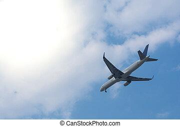 avión, vuelo, en, el, sol