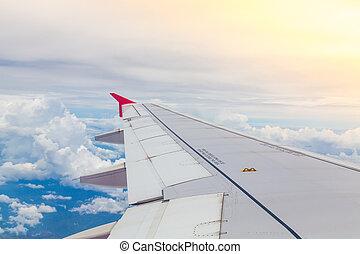 avión, vuelo, nubes, ala, sobre