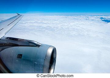 avión, vuelo, nubes, vista