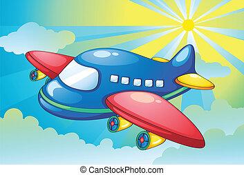 avión, y, rayos ligeros, en, el, cielo