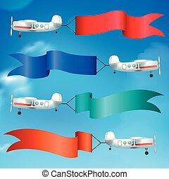 aviões, bandeiras, bandeiras, realístico