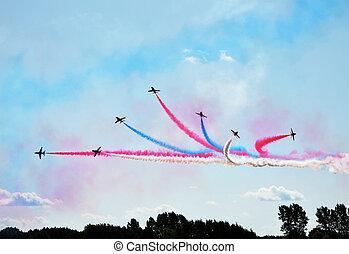 aviões, em, formação, ligado, airshow