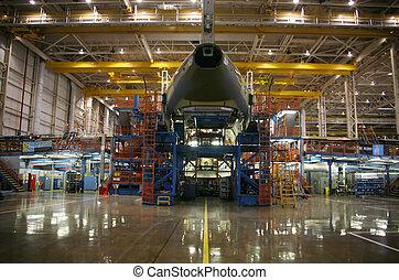 aviões, em, producao
