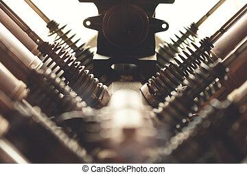 aviões, motor, cilindros, mostrando, usado, válvulas, v8, ...