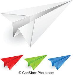 aviões papel, coloridos