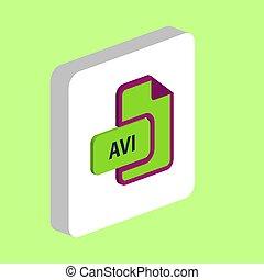 AVI computer symbol - AVI document Simple vector icon. ...