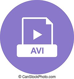 AVI , File - AVI, web, play icon vector image. Can also be ...