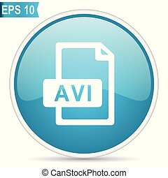 Avi file blue glossy round vector icon in eps 10. Editable modern design internet button on white background.