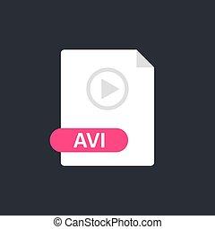 Avi file icon. Audio Video Interleave format file. Play icon...