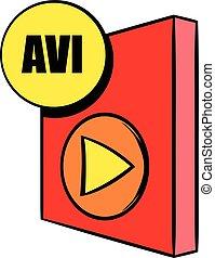 AVI file icon cartoon - AVI file icon in cartoon style ...