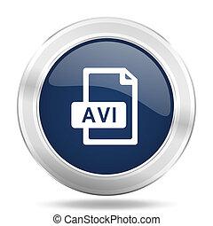 avi file icon, dark blue round metallic internet button, web and mobile app illustration