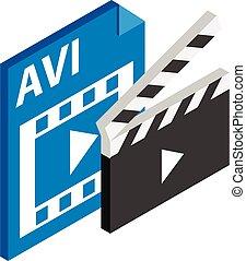 Avi file icon, isometric style - Avi file icon. Isometric ...