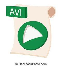 AVI icon, cartoon style