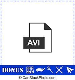 AVI icon flat. Simple vector symbol and bonus icon
