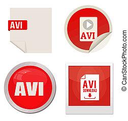 Avi icon set on white background, vector illustration