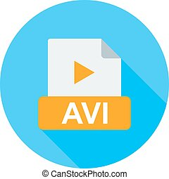 AVI, web, play icon vector image. Can also be used for file ...