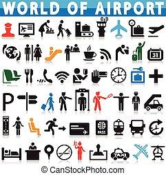 aviação, aeroporto, &, ícone