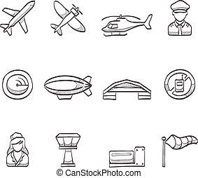 aviação, esboço, -, ícones