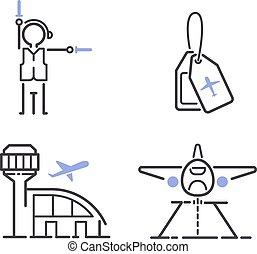 aviação, set., vetorial, ícones