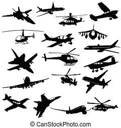 aviação, silueta