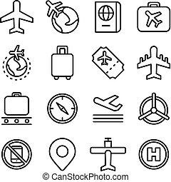 aviação, viagem, conceito, ícone, ar
