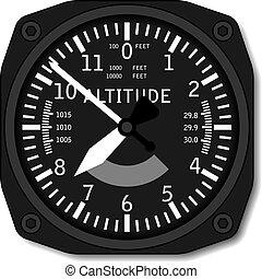 aviación, avión, vector, altímetro