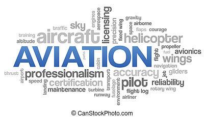 aviación, palabra, nube, azul, burbuja, etiquetas, árbol, vector