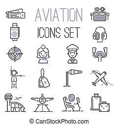 aviación, set., vector, iconos
