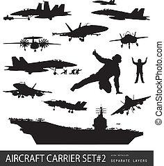 aviación, siluetas, naval