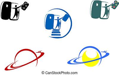 aviación, y, viaje, símbolos