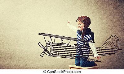 aviador, aviones, juegos, bebé, feliz, sueños, piloto, favorecedor