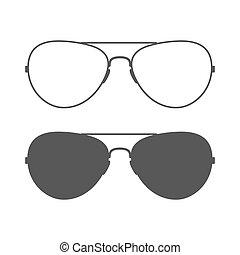 aviador, gafas de sol, icono