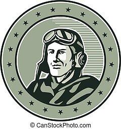 aviador, guerra, retro, uno, círculo, mundo