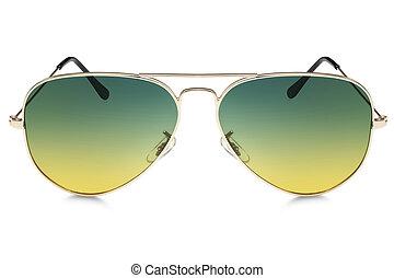 aviador, plano de fondo, aislado, gafas de sol, blanco