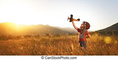 aviador, puesta de sol de avión, sueños, verano, piloto, niño, viajar