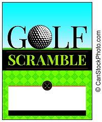aviador, torneo, golf, camino difícil, ilustración