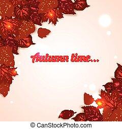 aviateur, conception, fond, feuilles, briller, automne, presentation., affiche, foliage., time., photorealistic, brochure, affiche, vente