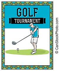 aviateur, tournoi, golf, illustration
