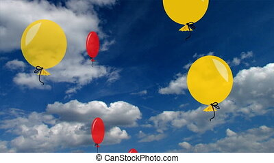 Aviatic balloons in bright colors. Air balloons on blue sky...
