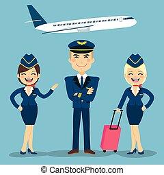 aviation, équipage, membres
