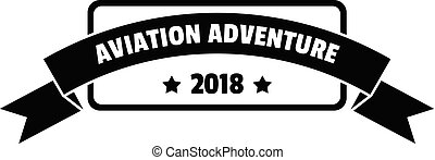 Aviation adventure 2018 logo, simple style